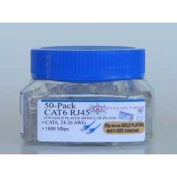 CAT6 RJ45 Modular Plugs 50-pack 50u gold